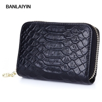 Fashion Genuine Leather Card Holder Crocodile Pattern Women Men Wallet Credit Card Holders For Female Coin