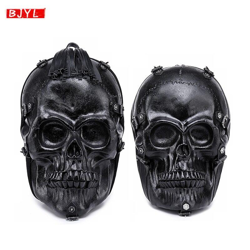 Punk locomotive 3D crâne hommes sac à dos rue tendance crâne hip hop drôle hommes sac à bandoulière en cuir noir voyage cool sac à dos