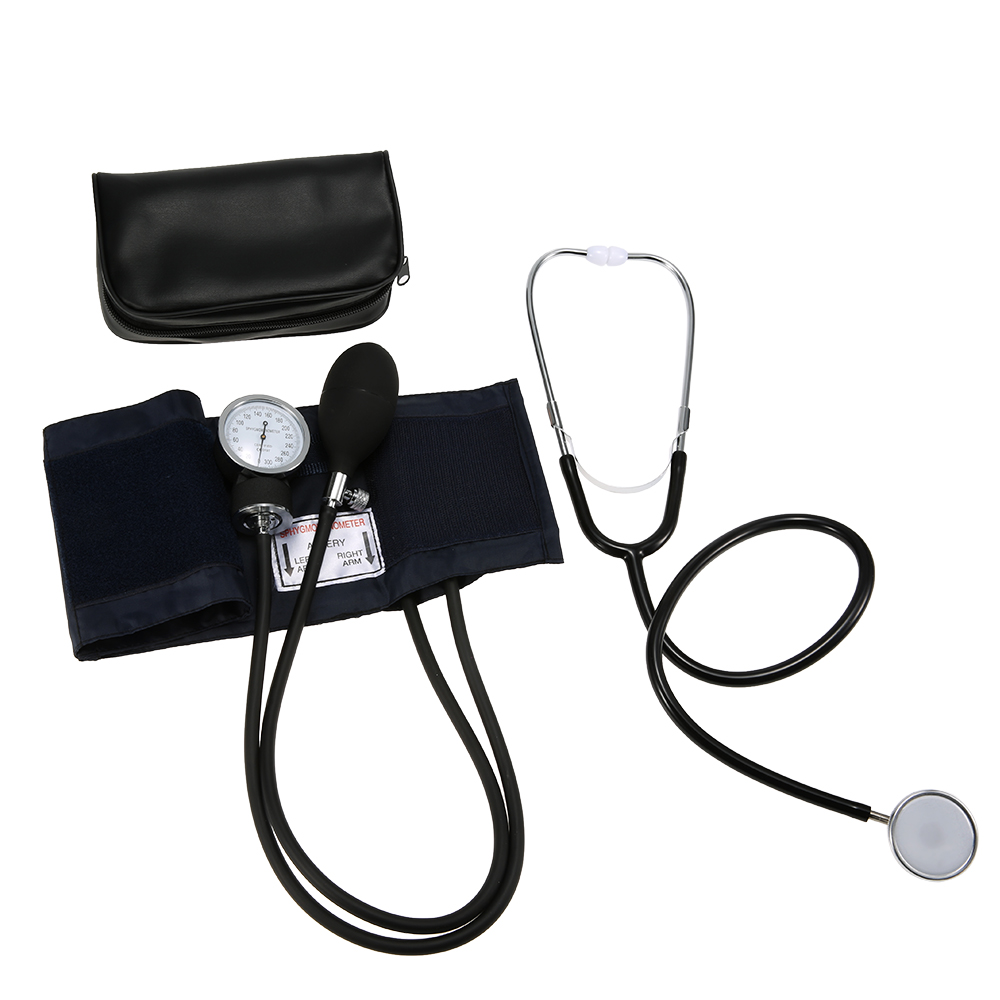 Aneroid kan basıncı monitörü tonometre stetoskop tansiyon aleti manşet kiti üst kol kan basıncı için fermuarlı çanta ile vücut