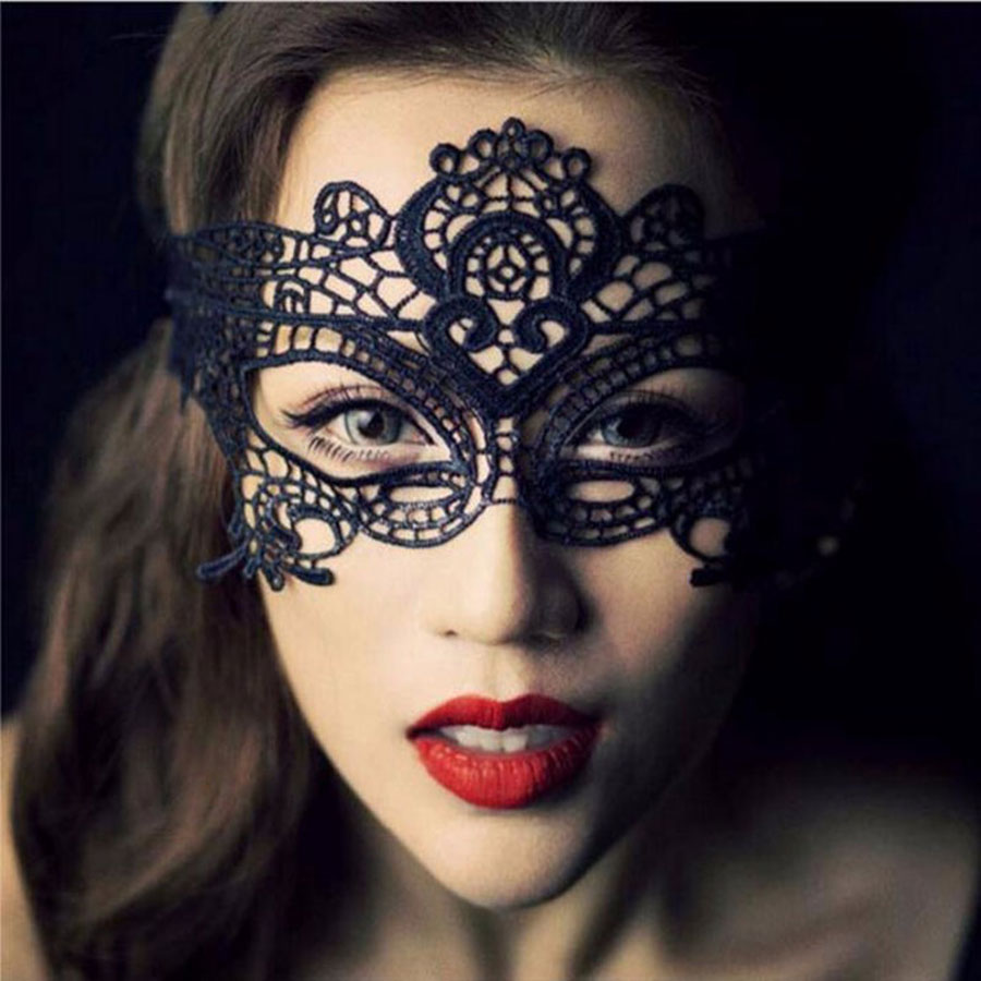Women Lace Black Sexy Eye Mask Accessories Exotic Apparel Hollow Nightclub Party Queen Masks