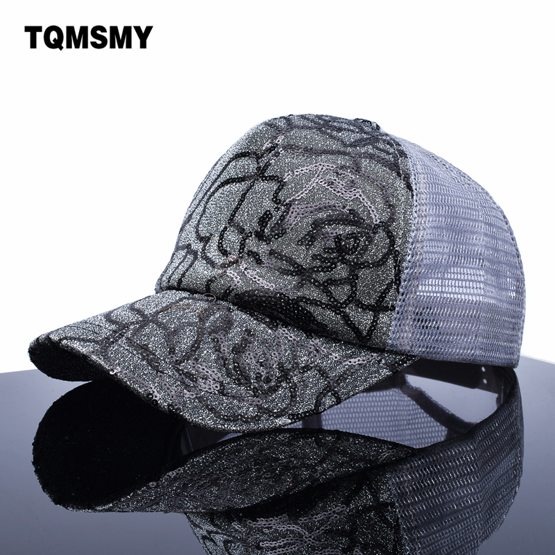Girl s sun hat brand snapback cap women sequins shiny hats Breathable mesh bone summber baseball caps for women hip hop gorras