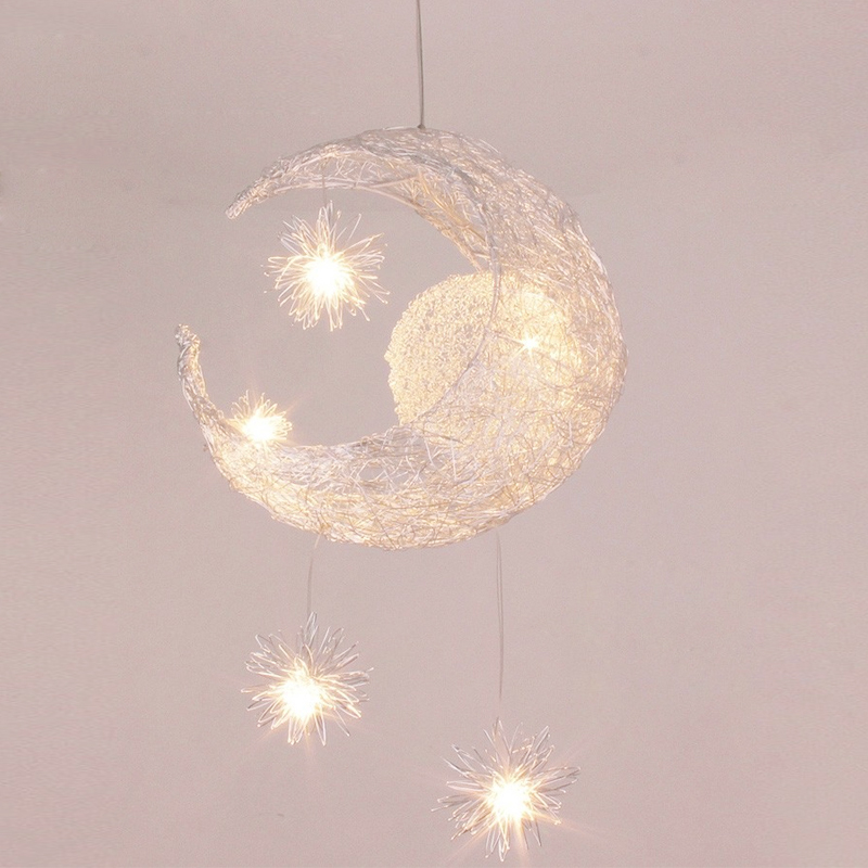 Modern Aluminum pendant lights Children room lighting moon-stars pendant lamps Kids lighting lights lifor bedroom 把你自己还给你