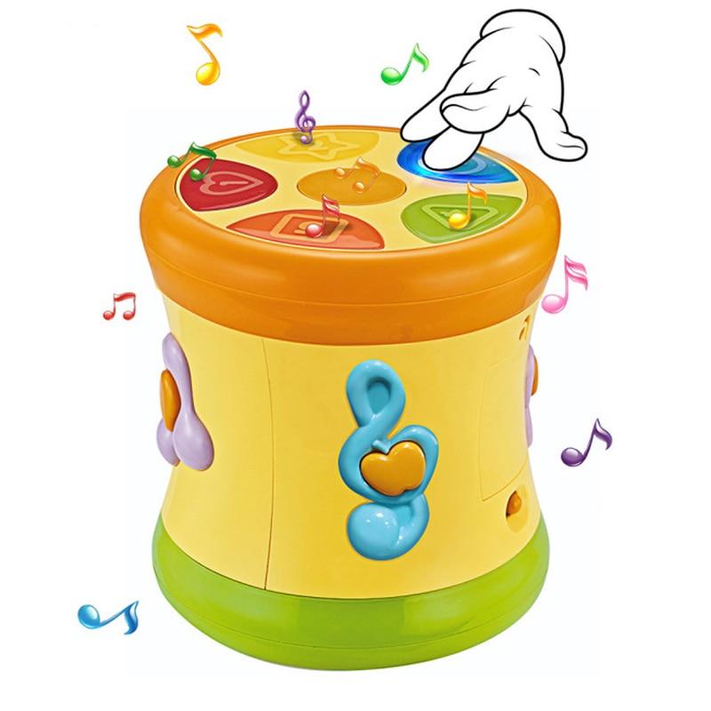 Bébé musique jouets enfants tambour main Pat tambours début éducatif apprentissage électrique Puzzle jouet Instrument de musique avec des jouets sonores légers
