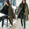 Vintage Suede Lambswool Medium Length Jacket Coat Winter Warm Thicken Hairly Collar Jacket Women Double Breasted Female Overcoat