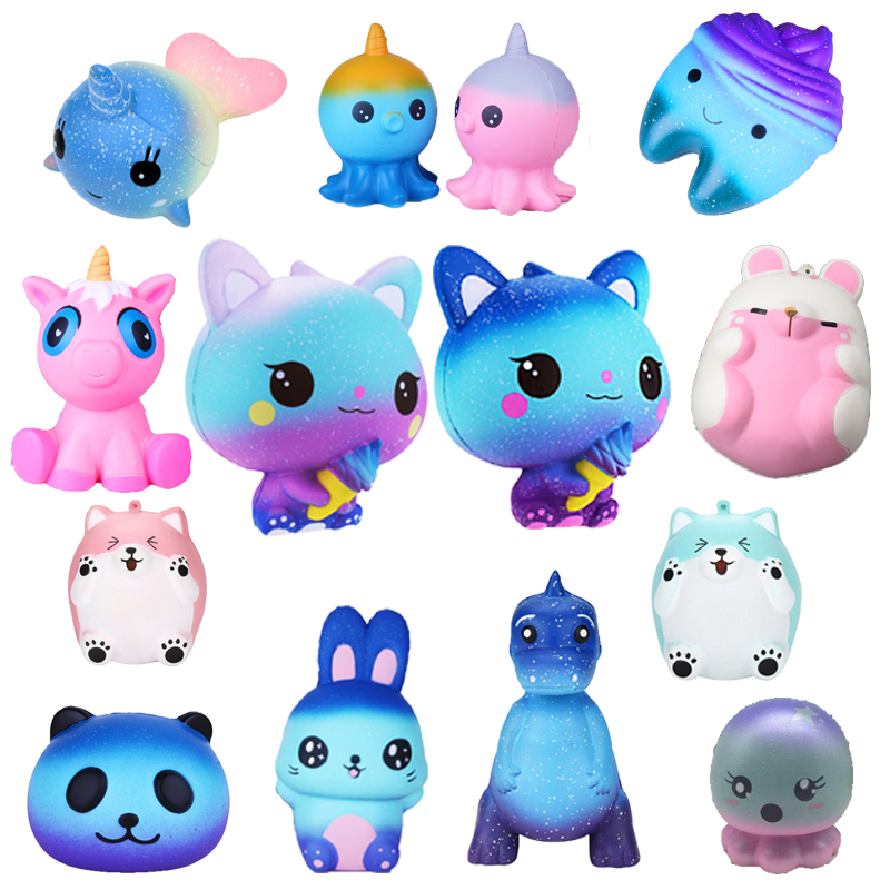 Squishy Slow Rising Kids Cute Simulation Animal Pu Simulation Squeeze Kawaii Unicornio Whale Squish Toy Stress Reliever