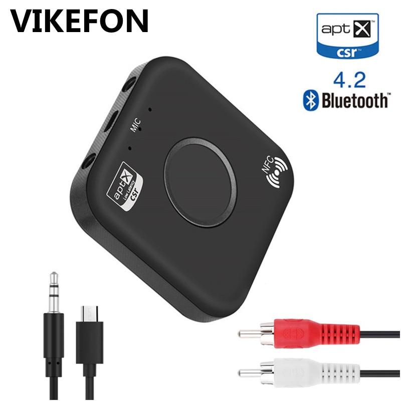 Bluetooth 4.2 Receiver APTX NFC HIFI 3.5mm AUX/2 RCA Adapter for Car Headphone Speaker Stereo Wireless Audio Receiver With MicBluetooth 4.2 Receiver APTX NFC HIFI 3.5mm AUX/2 RCA Adapter for Car Headphone Speaker Stereo Wireless Audio Receiver With Mic