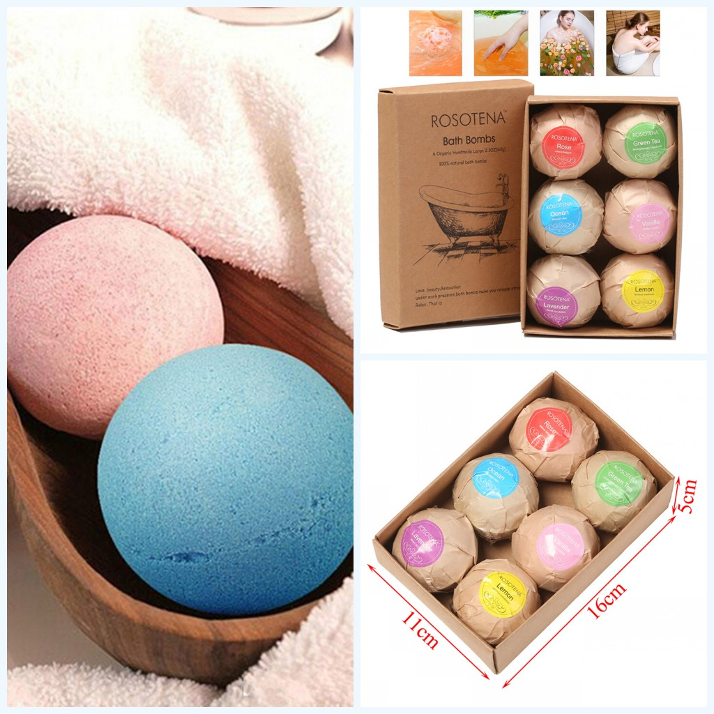 6PCs/Box 60g Bath Boom Natural Bubble Bath Salt Ball Essential Oil Body Whitening Relax Shower Body Clean Soap For Bathroom