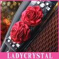 Ladycrystal 1 UNIDS Lujo Diamond Rhinestone Rose CarStyling Cubiertas De Coche Cubierta Del Asiento del Cinturón de Seguridad Del Cinturón de seguridad de Hombro Acolchado