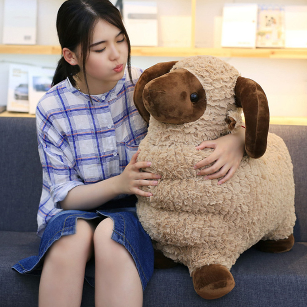 Fancytrader Plush Sheep Toys Big Soft Stuffed Animals Goat Sheep Doll 60cm 24inch fancytrader new style giant plush stuffed kids toys lovely rubber duck 39 100cm yellow rubber duck free shipping ft90122