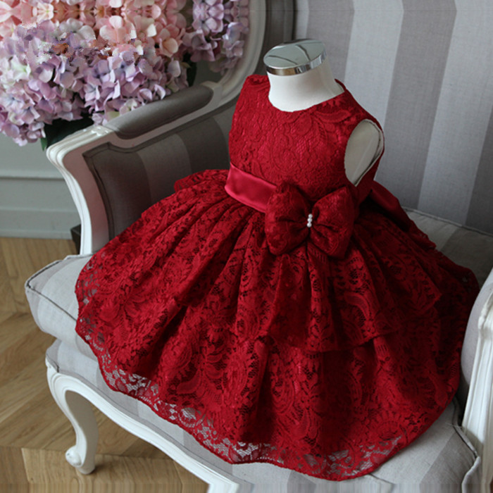 eca1a8ead Elegant Baby Girl Dress Fashion Red Lace Bow Sleeveless Party Tulle Dress  Flower Girl Wedding Dresses Birthday Ball Gown