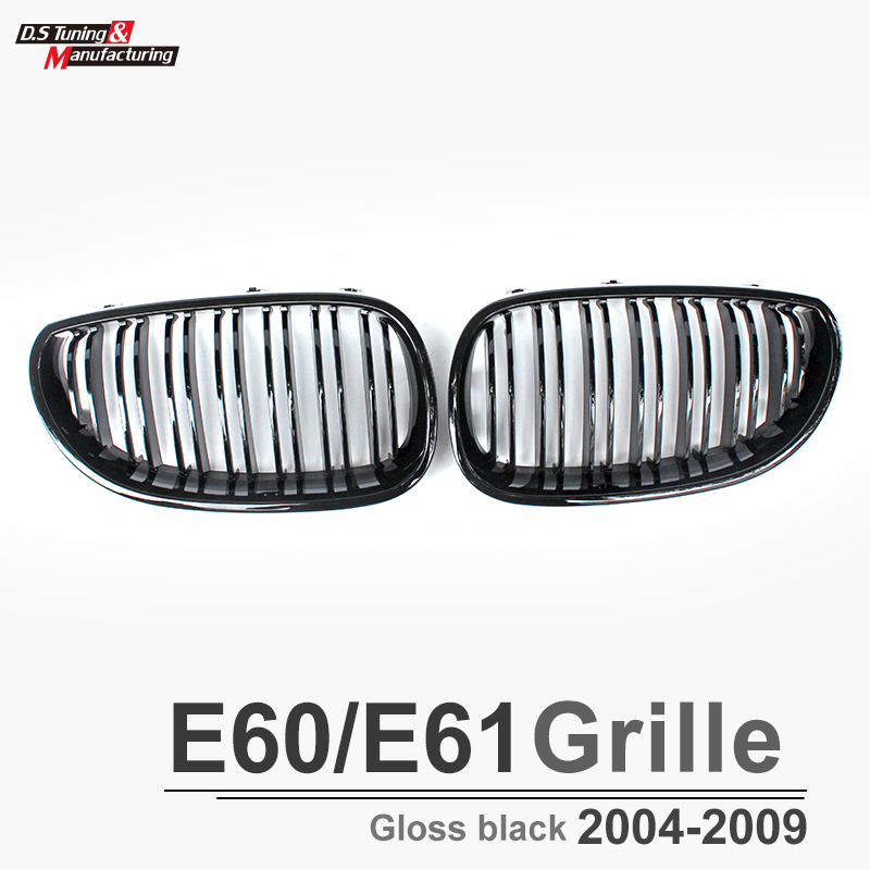 Front bumper kidney grill grille mesh for bmw 5 series e60 2004 2009 2 slat gloss black front grill grille mesh