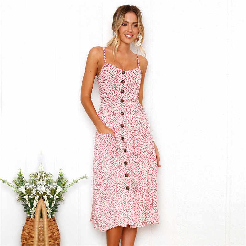 Летнее женское платье 2018 Новое сексуальное с v-образным вырезом с открытой спиной пляжное платье цветочный принт Кнопка повседневные платья для девушек Сарафан vestidos mujer