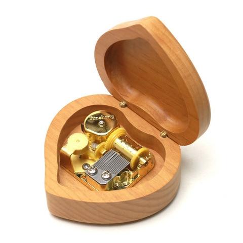 Maple solid wood heart shape music box girlfriend lover birthday gift Christmas new year wooden creative decompresses HEBFG15 Karachi