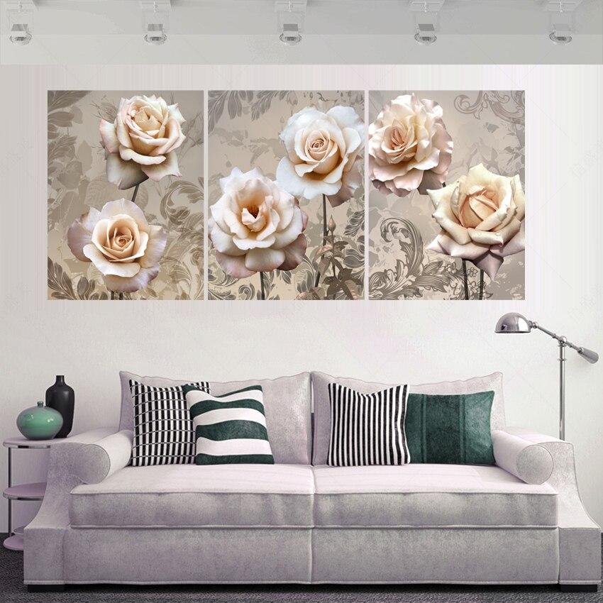 3 panely Cuadros Decoracion Canvas Olejomalba Nástěnné modulární obrazy pro obývací pokoj HD Tisk Květiny Obrázky Nástěnná malba K309X