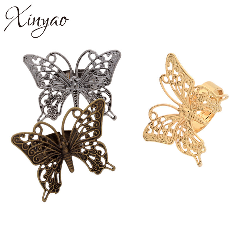 Fashion Copper Adjustable Animal Butterfly Rings Gold/Rose Gold/Gunblack/Rhodium Color Wedding Party Rings Anillos Mujer K0596