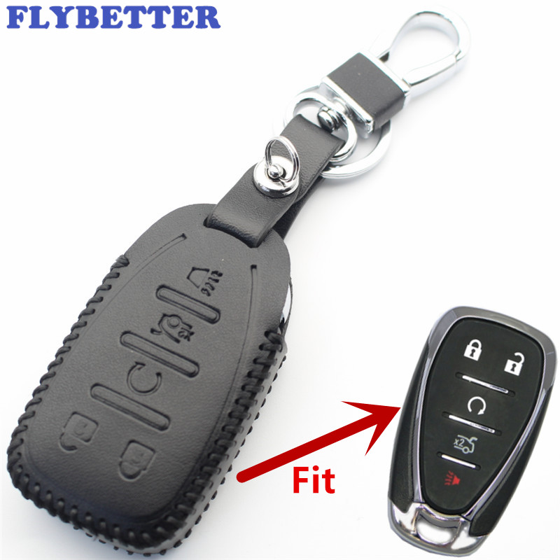 Key Case For Car Adaptable Flybetter Genuine Leather 5button Smart Key Case Cover For Chevrolet Malibu Xl/equinox/camaro/cruze Car Styling L2224 Interior Accessories