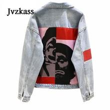 Jvzkass 2019 spring new Korean loose patch printed wild denim jacket female Z121