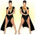 2016 sexy buzos mamelucos womens jumpsuit Pierna Ancha pantalones Irregulares Doble Dividir Mono De Desgaste Del Club Discoteca fiesta S6484