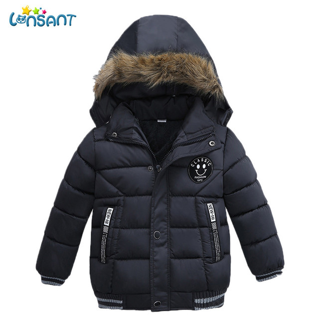 Special Price LONSANT New Baby Boys Girls Winter Jacket Fashion Kids Coat Children's cotton padded hooded jacket new year costume