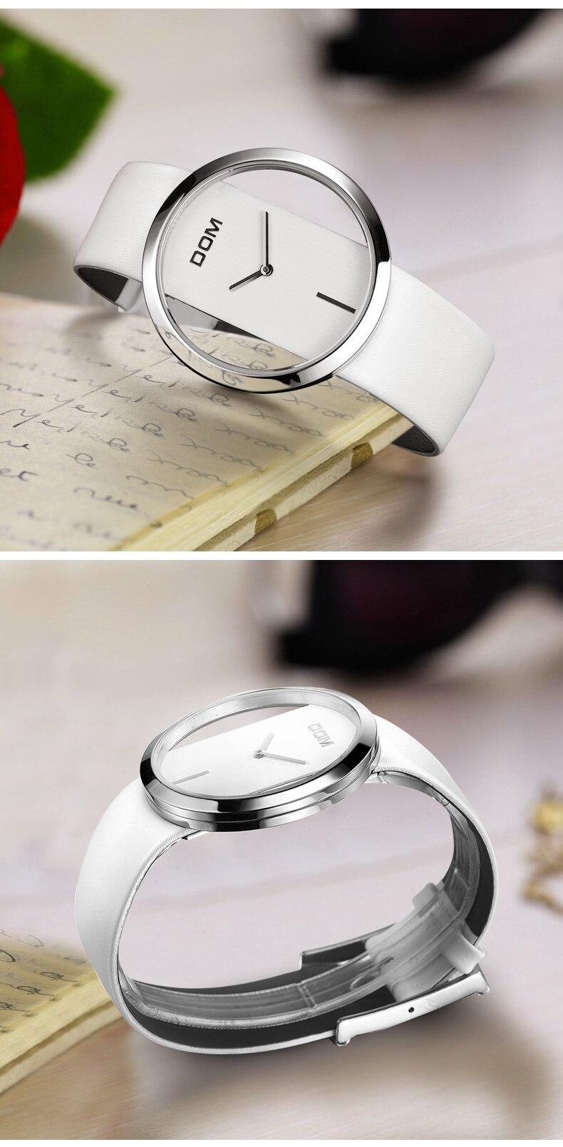 Montre quartz étanche, bracelet en cuir
