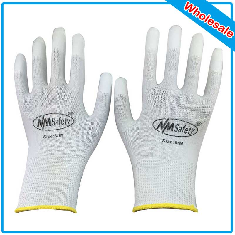 NMSAFETY 250 PCS PU ESD Work Gloves Nylon PU Gloves ESD Working Gloves PU Anti Static