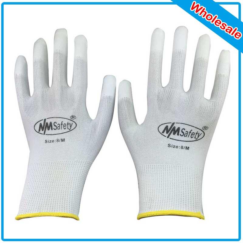 NMSAFETY 250 PCS PU ESD Work Gloves Nylon PU Gloves ESD Working Gloves PU Anti Static Work Gloves prosport pu