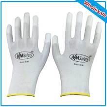 NMSAFETY 250 шт PU рабочие перчатки ESD нейлоновые ПУ Перчатки рабочие ESD перчатки PU Антистатические Рабочие Перчатки