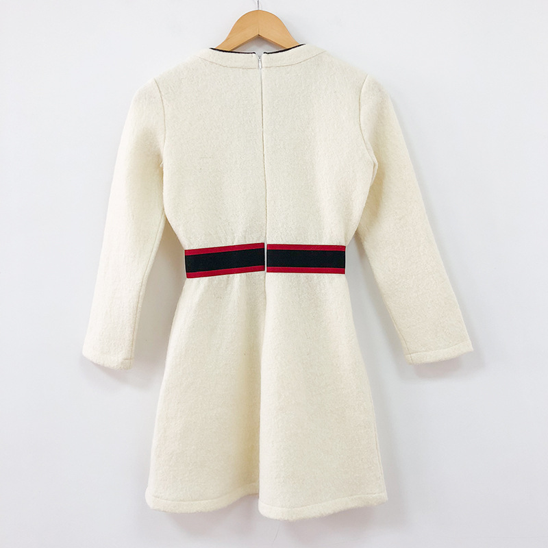 Inverno Alta Vestidos Del Autunno Lana Abiti Progettista Vestito Modo Donne Bianco Di Delle Q056 Sottile Mini Tweed Qualità Beige Pista Della Rappezzatura 0S4gAdw
