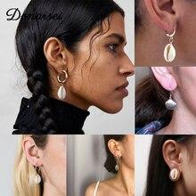 Donarsei 2019 New Fashion Sea Shell Dangle Earrings For Women Bohemian Gold Metal Pearl Cowrie Drop Earrings Boho Jewelry