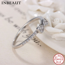 ФОТО inbeaut hot sale 100% genuine 925 sterling silver mirco white zircon paved cute bowknot ring for women elegant dating jewelry