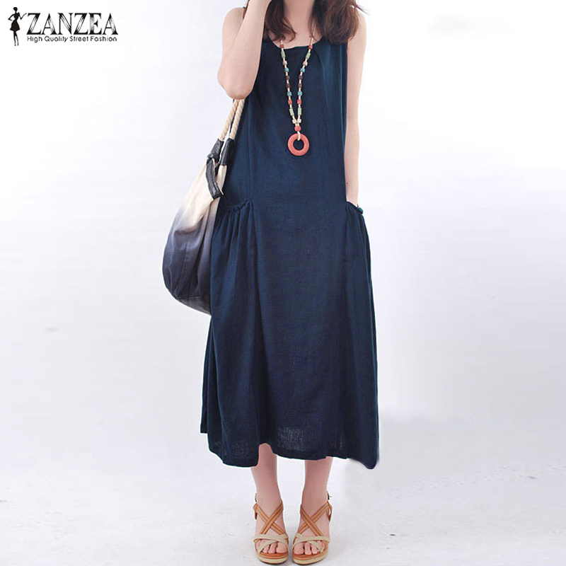 2018 ZANZEA Summer Elegant Work Office Baggy Long Maxi Dress Women Casual Solid O Neck Sleeveless Pockets Loose Pleated Vestido