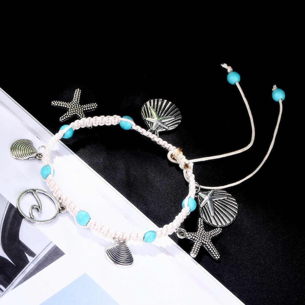 Bohemian denizyıldızı kabuk taş halhal kadınlar için Vintage el yapımı dalga halhal bilezik bacak zinciri yaz plaj okyanus takı