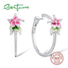Santuzza Zilveren Oorbellen Voor Vrouwen 925 Sterling Zilver Roze Bloem Hoepel Oorbellen Zilveren Zirconia Brincos Sieraden Enamel