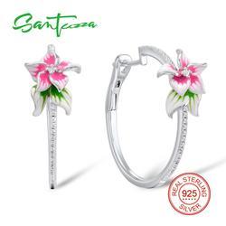 Santuzza brincos de prata para as mulheres 925 prata esterlina rosa flor argola brincos de prata zircônia cúbica brincos jóias esmalte