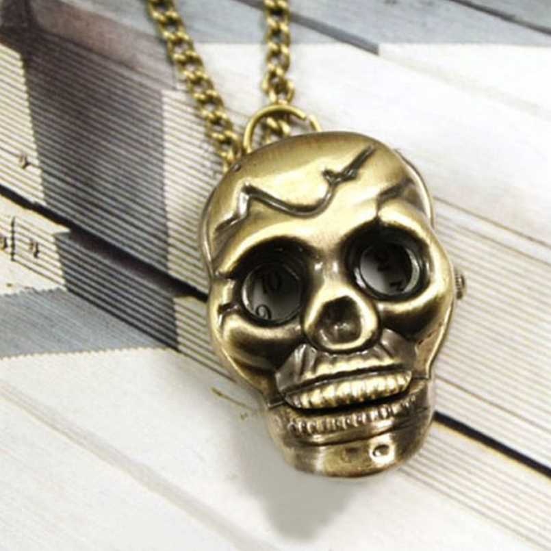 Excellent Quality New Fashion Retro Skull Necklace Pocket Watch Necklace Chain Gift Bronze Pocket Watch Necklace Chain Gift