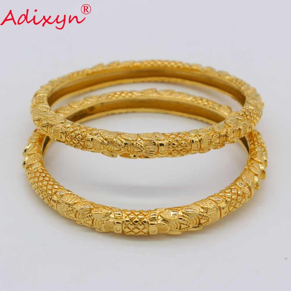 Adixyn 2PCS/LOT,CANNOT OPEN Wholesale Bangle for Women Gold Color African Middle East Bracelet Jewelry Gifts N072409
