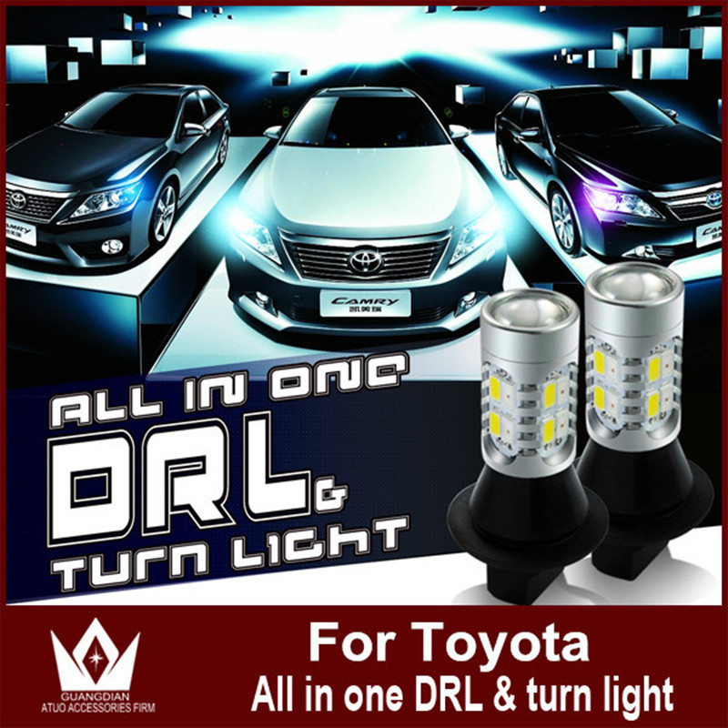 Night Lord For toyota Land Cruiser Prado 7440 T20  WY21W CAR LED DRL& Front Turn Signals all in one double color front bumper turn light for toyota land cruiser prado lc70 lc77 rj77 79 4500