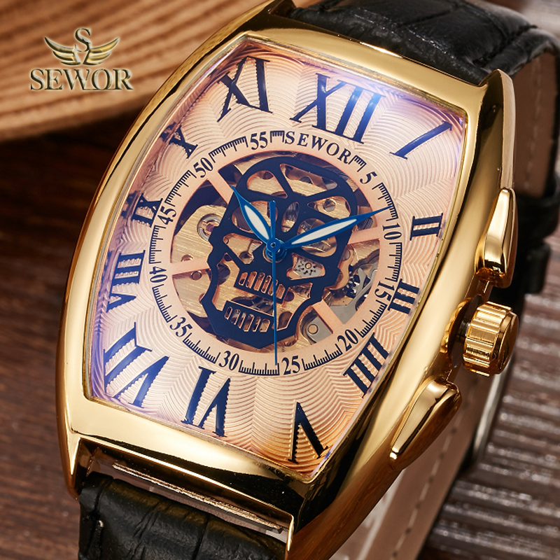 SEWOR Mens Fashion Skull Head Pattern Hollowing Machinery Gradient Color Mirror Watch Men Sport Mechanical Automatic Watch  C387SEWOR Mens Fashion Skull Head Pattern Hollowing Machinery Gradient Color Mirror Watch Men Sport Mechanical Automatic Watch  C387