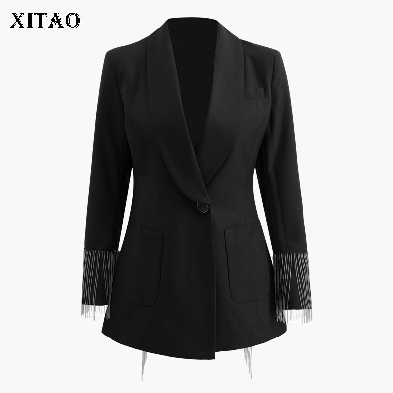 XITAO Irregular Women Fashion New 2019 Spring Summer Notched Collar Full Sleeve Single Button Notched