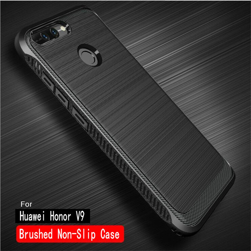 Galleria fotografica For <font><b>Huawei</b></font> Honor 8 Pro Case Brushed Texture Silicone Fundas Carbon Fiber Non-Slip Rubber Back Cover For Honor V9 Phone Case 5.7