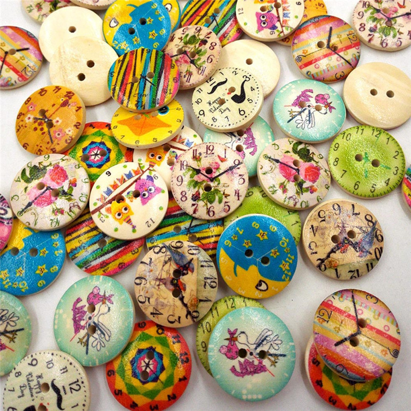 50PC Vintage Wood Clock Sewing Accessories Buttons 2 Holes Sewing Scrapbooking Crafts Sewing Accessories for Clothes Bags 40SP18 (3)