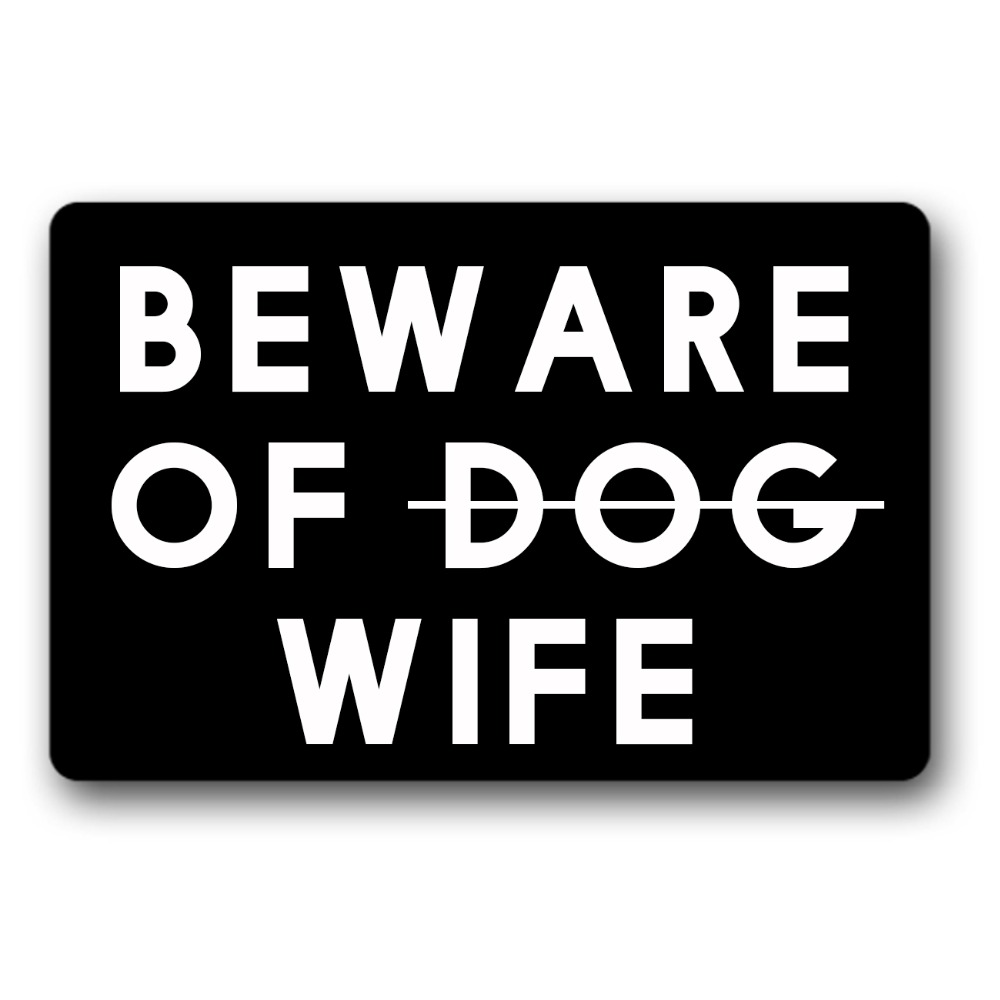 Funny Front Door Entrance Mats Beware of Dog wife Non-slip Doormat 23.6 x 15.7 welcome mat indoor outdoor entrance doormats