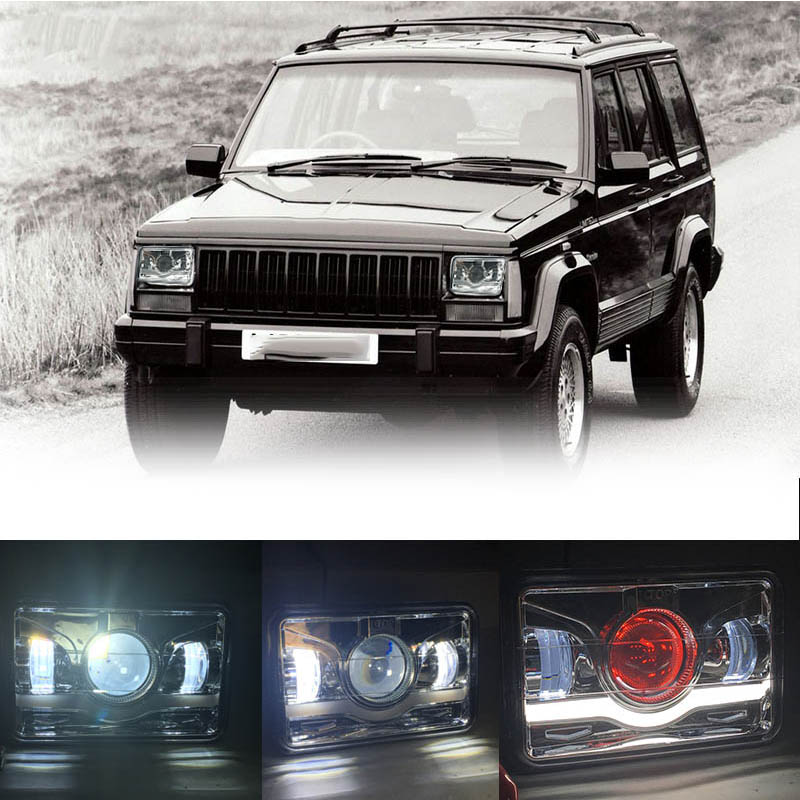 4x6 <font><b>Square</b></font> LED <font><b>Headlight</b></font> 45W 12V 24V 6000K DRL With Angel Eyes High Low Beam Off Road Lights Super Bright Driving Light For Ford image