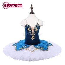 Children Blue Professional Ballet Tutu Apperal The Bird Performance Competition Dance Costumes Girls Skirt