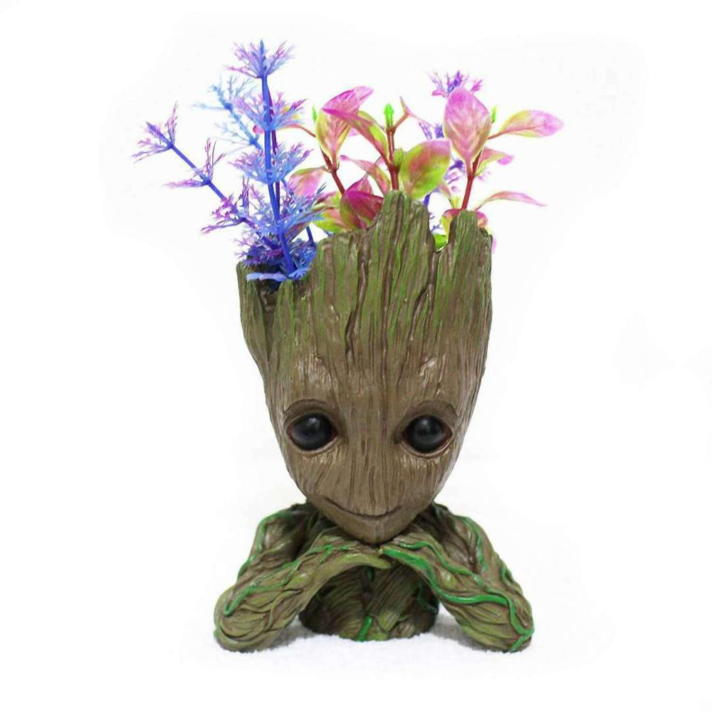 14.2 Cm Flower Pot Baby Big Flower Pot Cute Toy Pen Pot Holder PVC Hero Model Baby Tree Man Garden Plant Pot Large Dropshippin