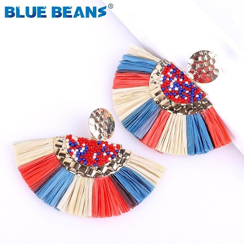 Tassel Earrings 2020 For Women Bohemian Dangle Earrings Fashion Jewelry Rattan Star Drop Earrings Punk Gifts Face African Luxury