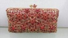 Freies verschiffen!! A15-5, rot farbe mode top kristallsteinen ring handtaschen für damen nette parteibeutel