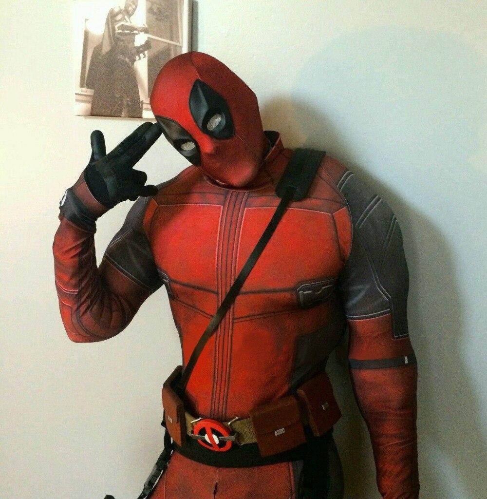 Костюм Дэдпула Бесплатная доставка черный и красный спандекс 3D принт Дэдпул косплей костюм на Хэллоуин