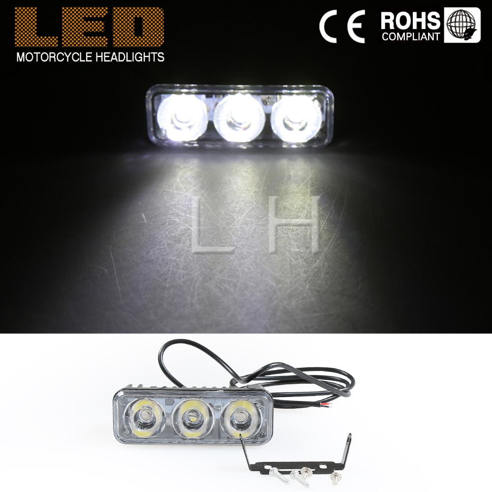 1x  Fog Driving Motorcycle Lamp 1200LM  Daytime Running Light Lamp 3 LED 12W Xenon White DRL Flashing 2pcs 12w h3 xenon 480lm white cre eled car auto drl parking driving running lamp fog light head lamp 4 led drl daylight kit