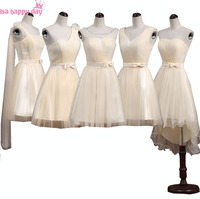 Greek Style One Shoulder Short Elegant Champagne Bridesmaid Dress Beautiful Bridesmaids Ball Dresses Wedding Meet Lady